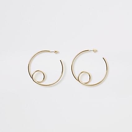 Gold colour looped hoop earrings