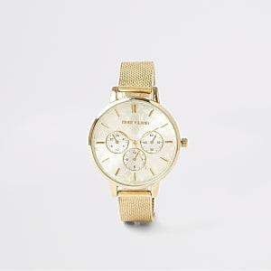 Goudkleurig horloge met mesh bandje en RI-print