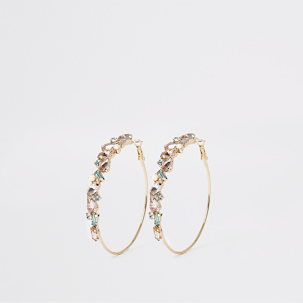 Gold colour mint jewel hoops