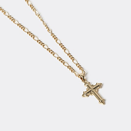 Gold colour mixed chain cross necklace