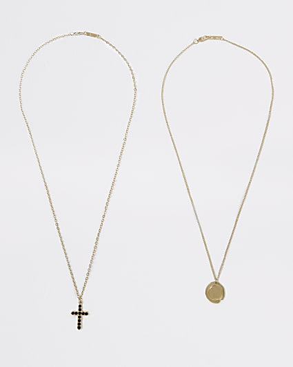 Gold colour multi cross and coin necklaces