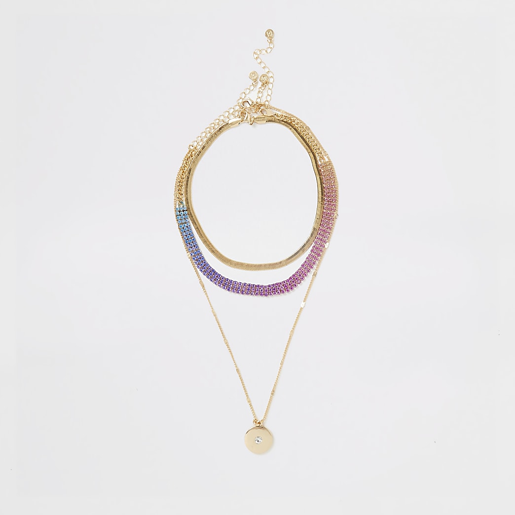 Gold colour ombre cupchain layered necklace