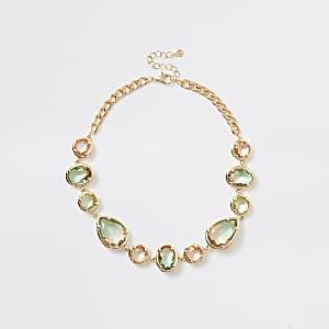 Gold colour ombre jewel statement necklace