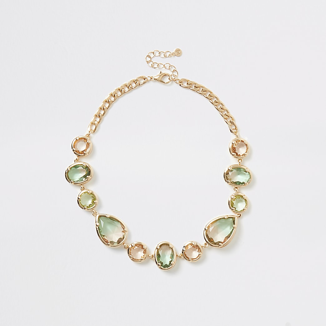 Gold colour ombre jewel statement necklace