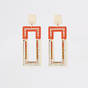 Gold colour orange diamante drop earrings