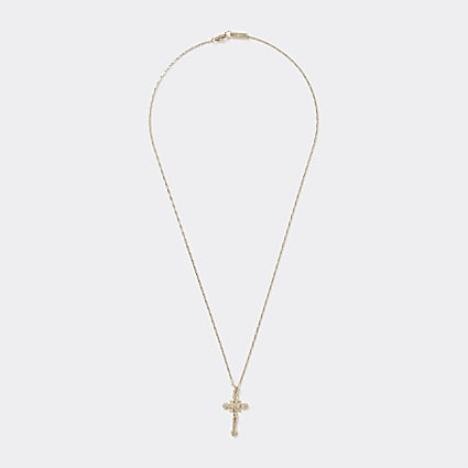 Gold colour ornate cross pendant necklace