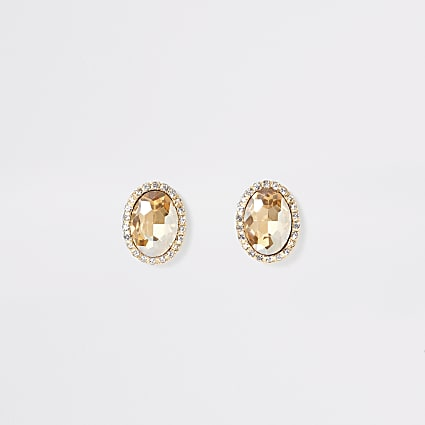 Gold colour oval jewel earrings