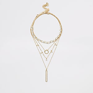 Gold colour oval pendant layered necklace
