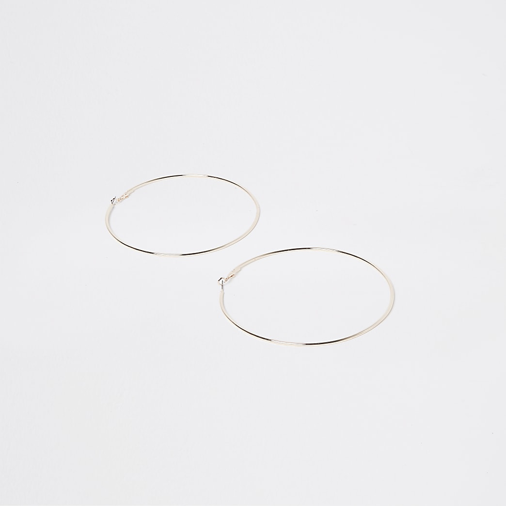 Gold colour oversized hoops