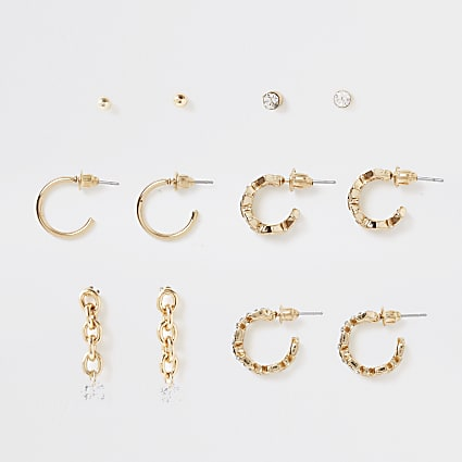 Gold colour pave chain earrings 6 pack