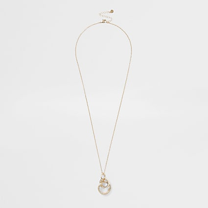 Gold colour pave interlink long pendant