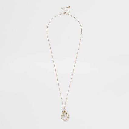 Gold colour pave interlink long pendant