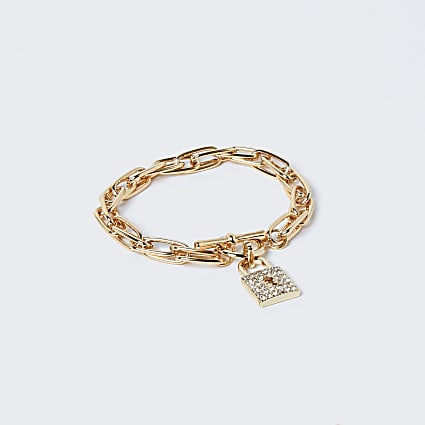 Gold colour pave padlock diamante bracelet