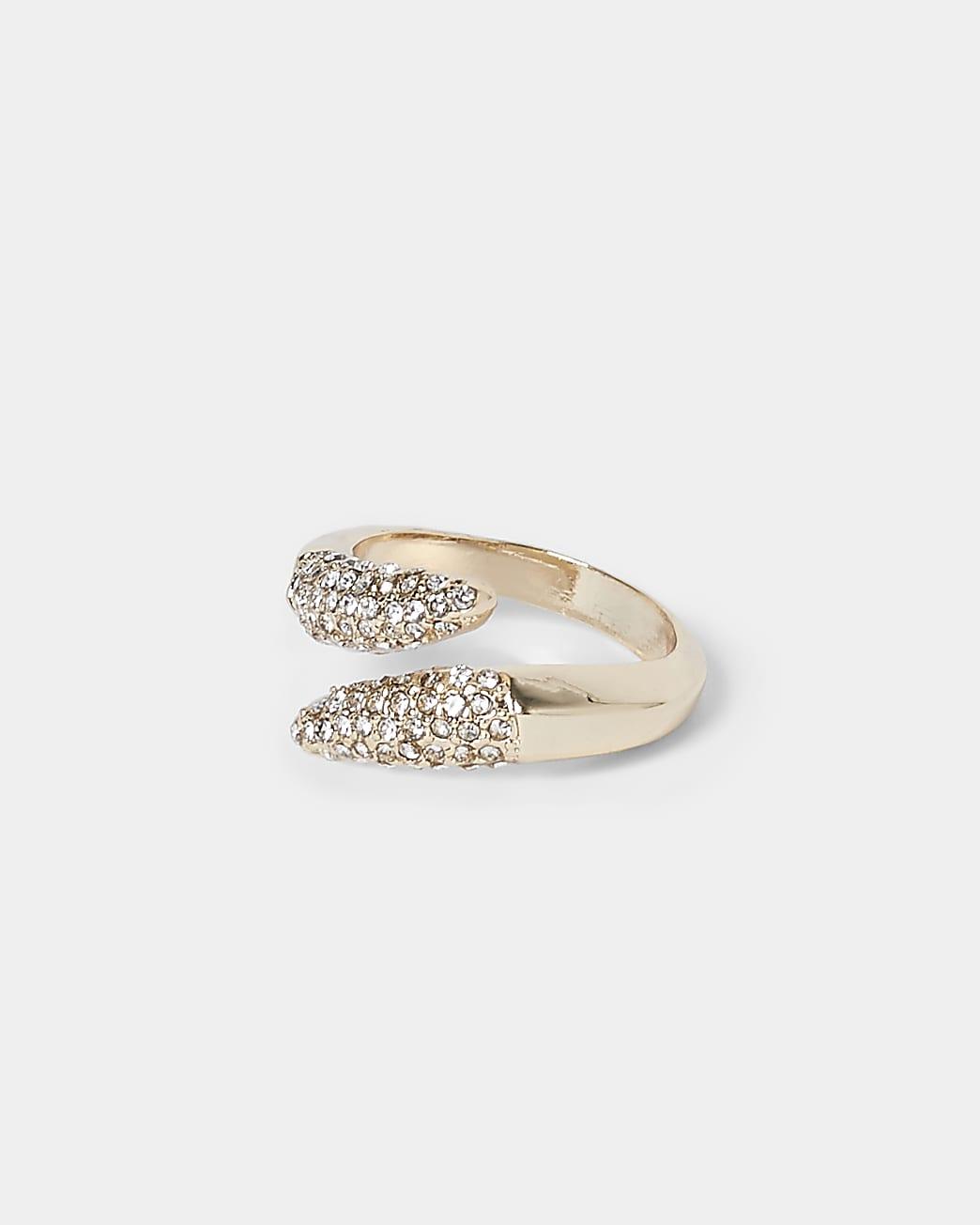 Gold colour pave wrap diamante ring