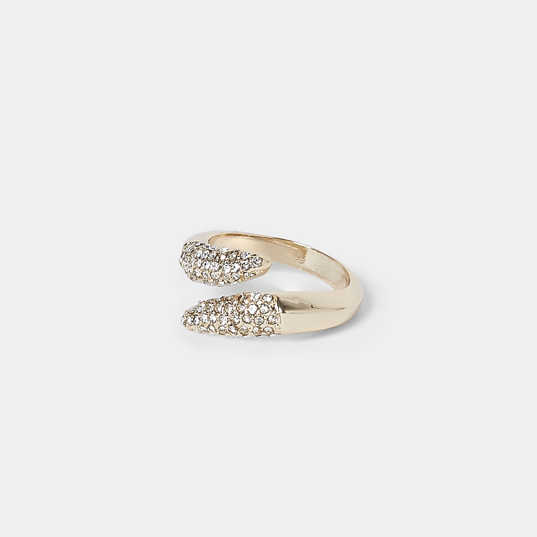 Gold colour pave wrap diamante ring