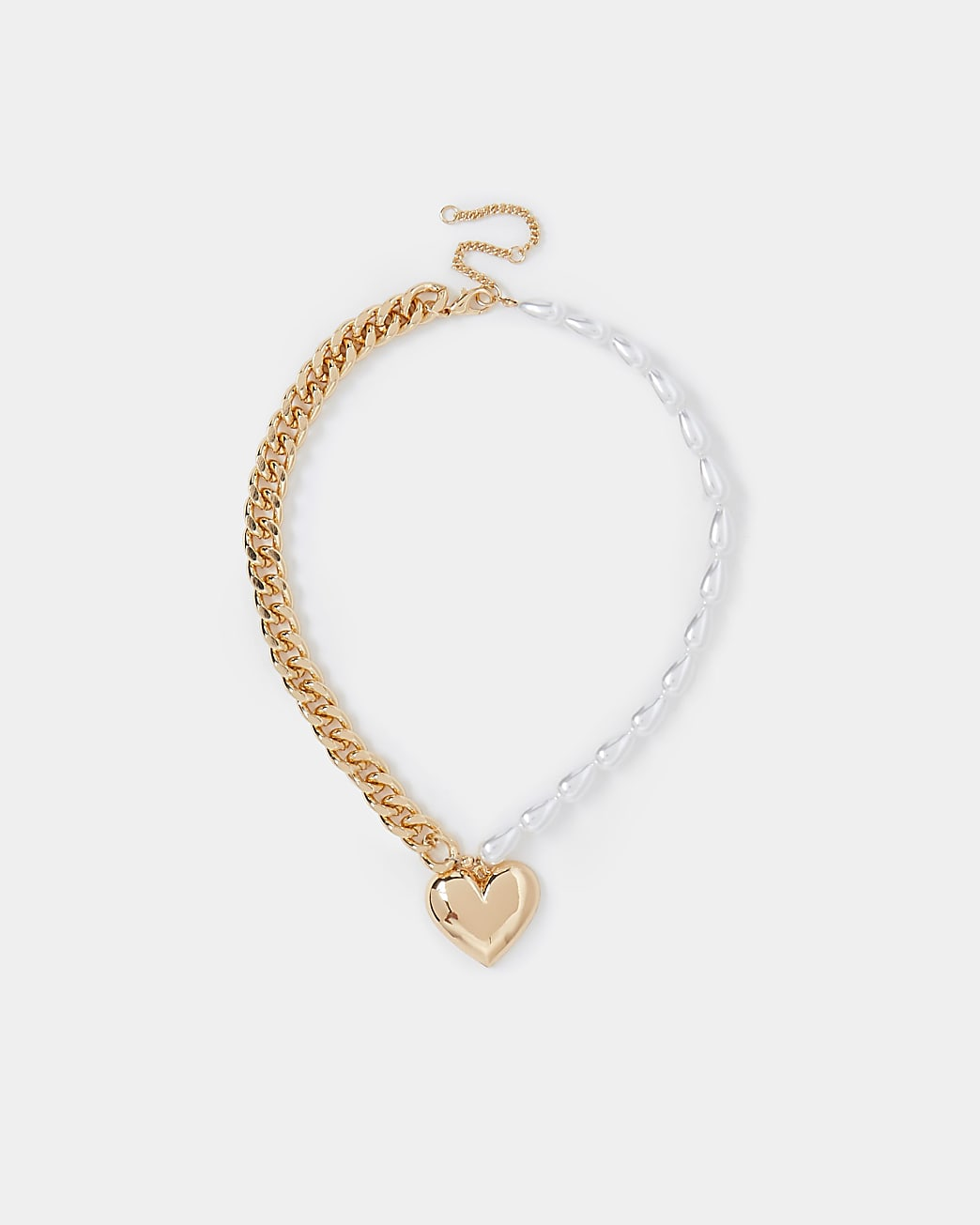 Gold colour pearl and chain heart necklace