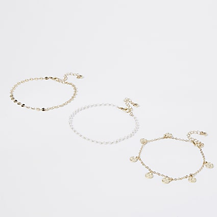 Gold colour pearl and coin anklet 3 pack