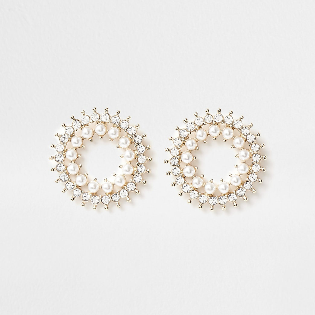 Gold colour pearl and crystal stud earrings