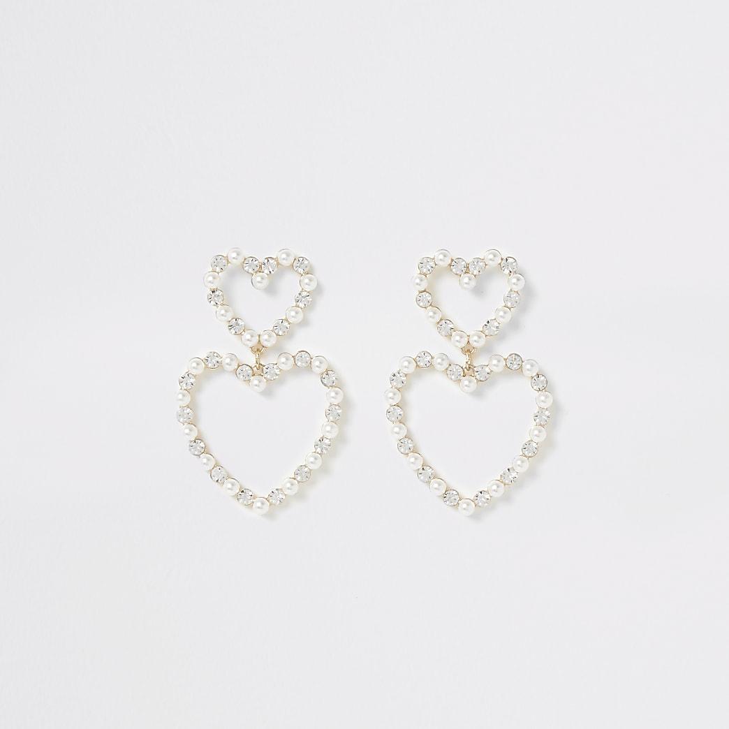 Goldfarbene Herz-Ohrringe