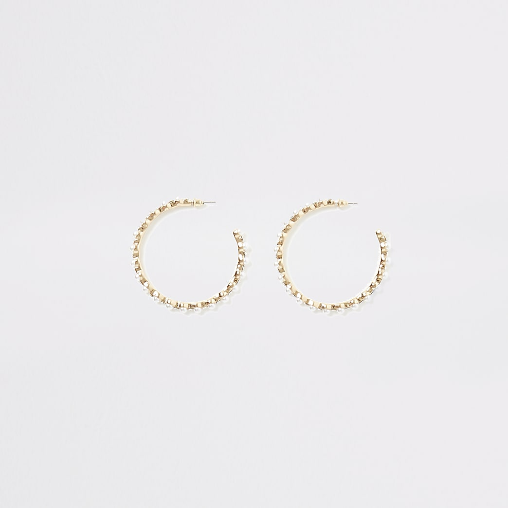 Gold colour pearl and diamante hoop earrings