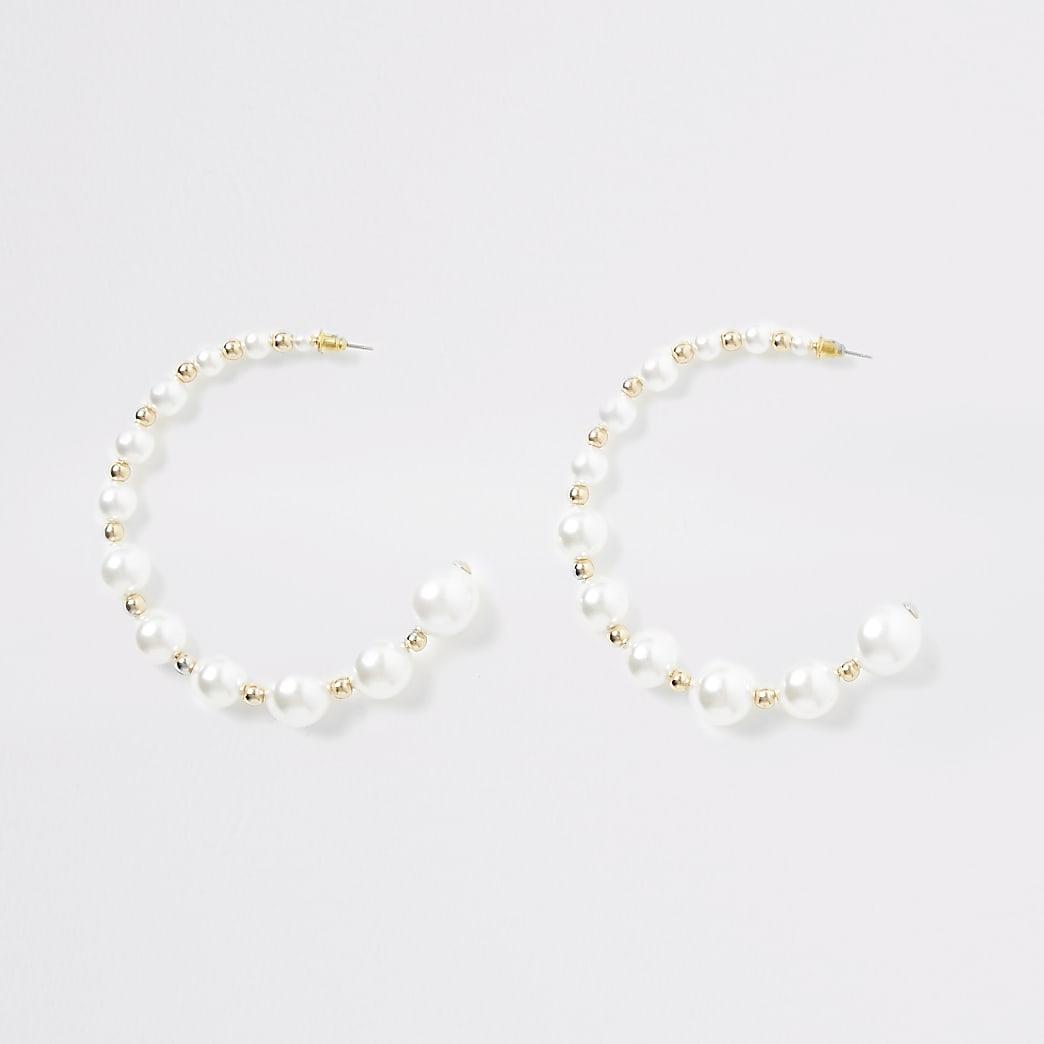 Gold colour pearl beaded hoop earrings