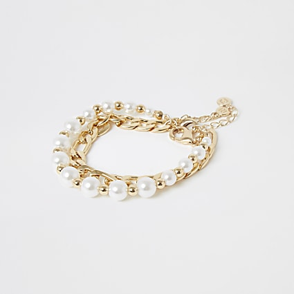 Gold Colour Pearl Bracelet 2 Pack
