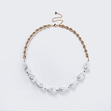 Gold colour pearl chain collar necklace