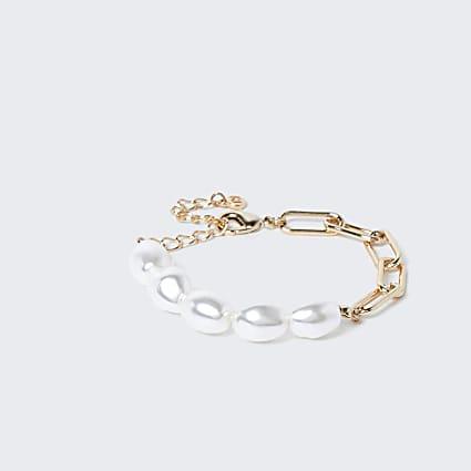 Gold colour pearl chain link clasp bracelet