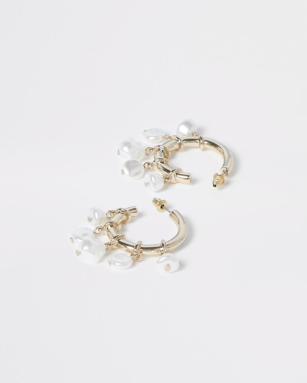 Gold colour pearl cluster drop hoop earrings