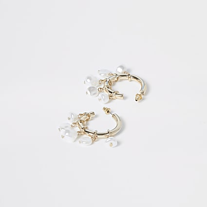 Gold colour pearl cluster drop hoop earrings