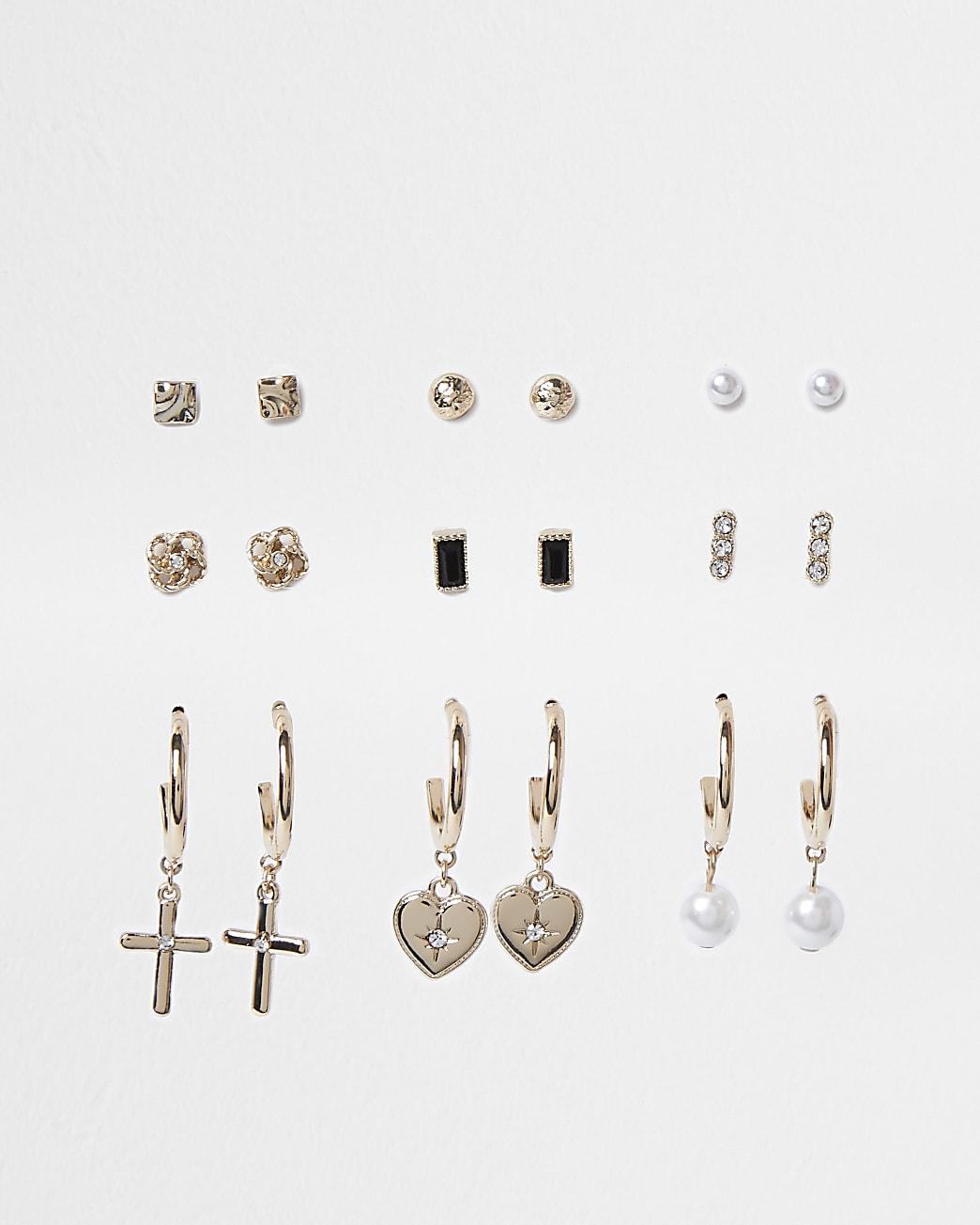 Gold colour pearl cross drop earrings 9 pack