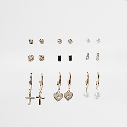 Gold colour pearl cross drop earrings 9 pack