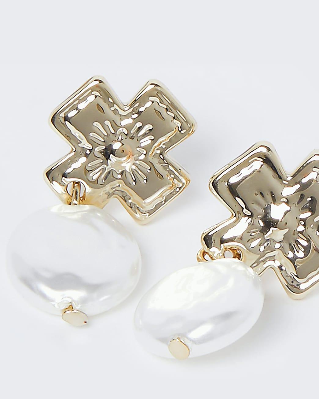 Gold colour pearl cross drop earrings