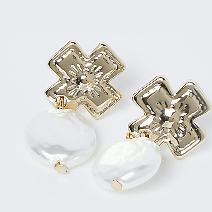 Gold colour pearl cross drop earrings
