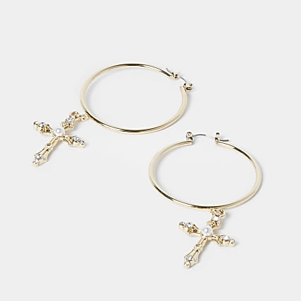 Gold colour pearl cross drop hoop earrings