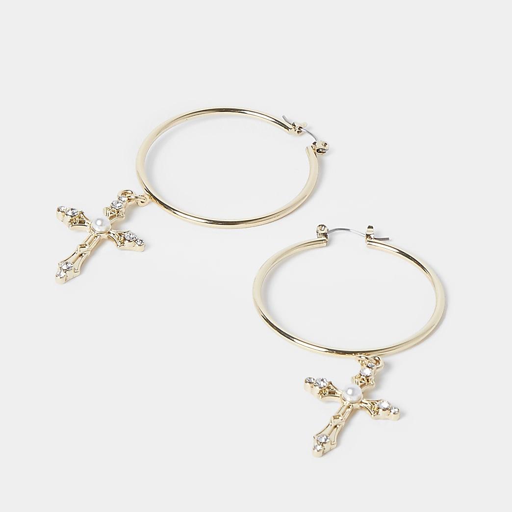Gold colour pearl cross drop hoop earrings
