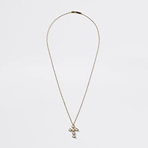 Goldfarbene Halskette mit perlenbesetztem Kreuzanhänger