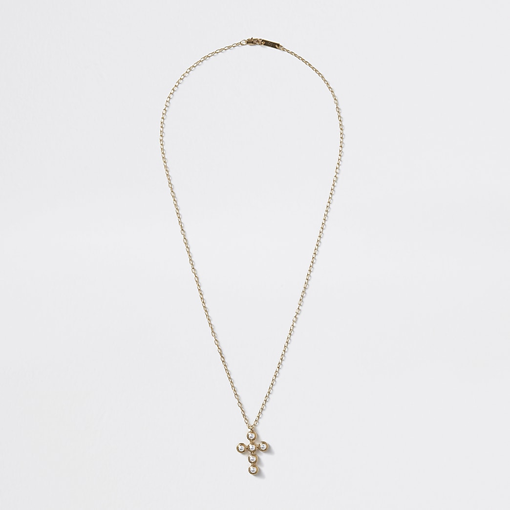 Gold colour pearl cross pendant necklace