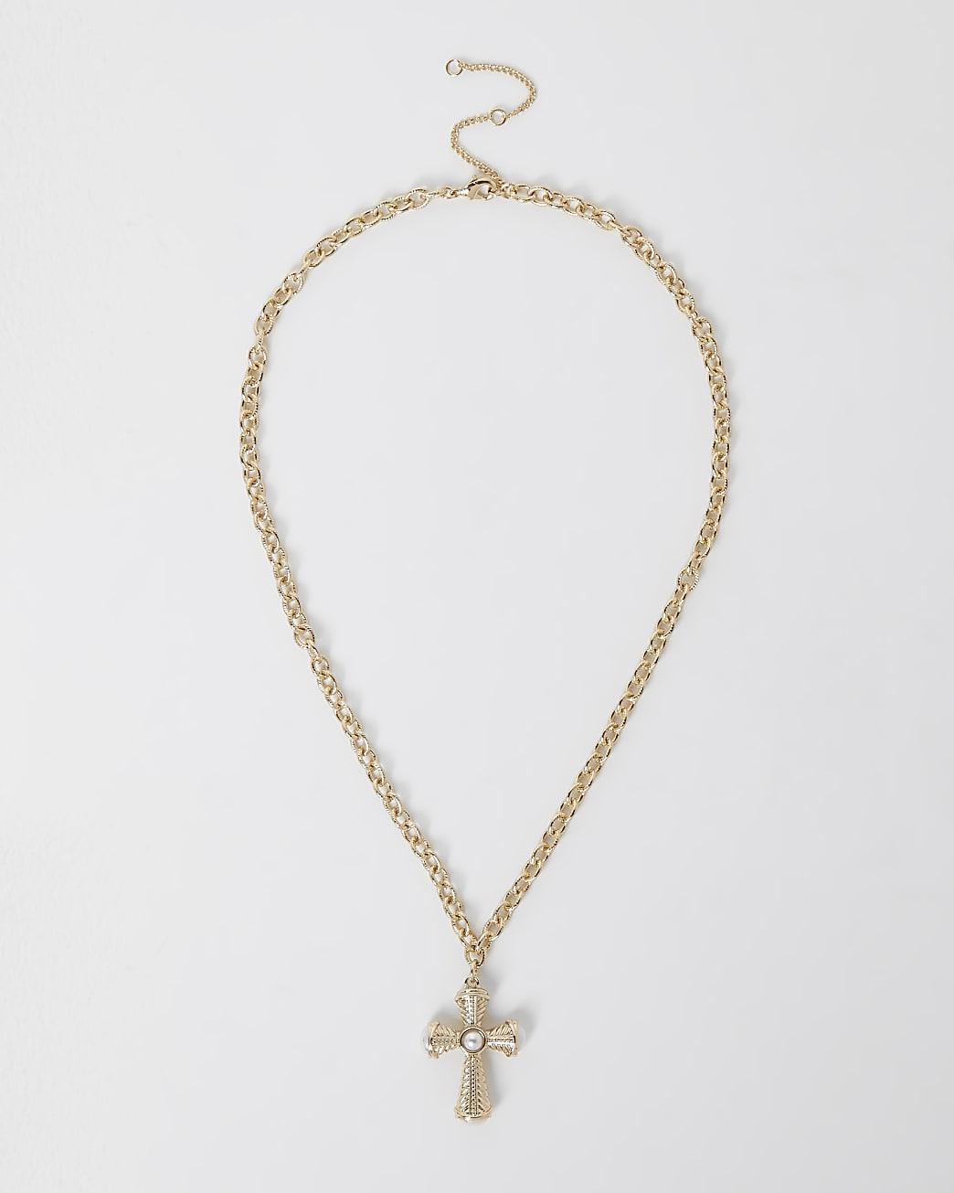 Gold colour pearl cross pendant necklace