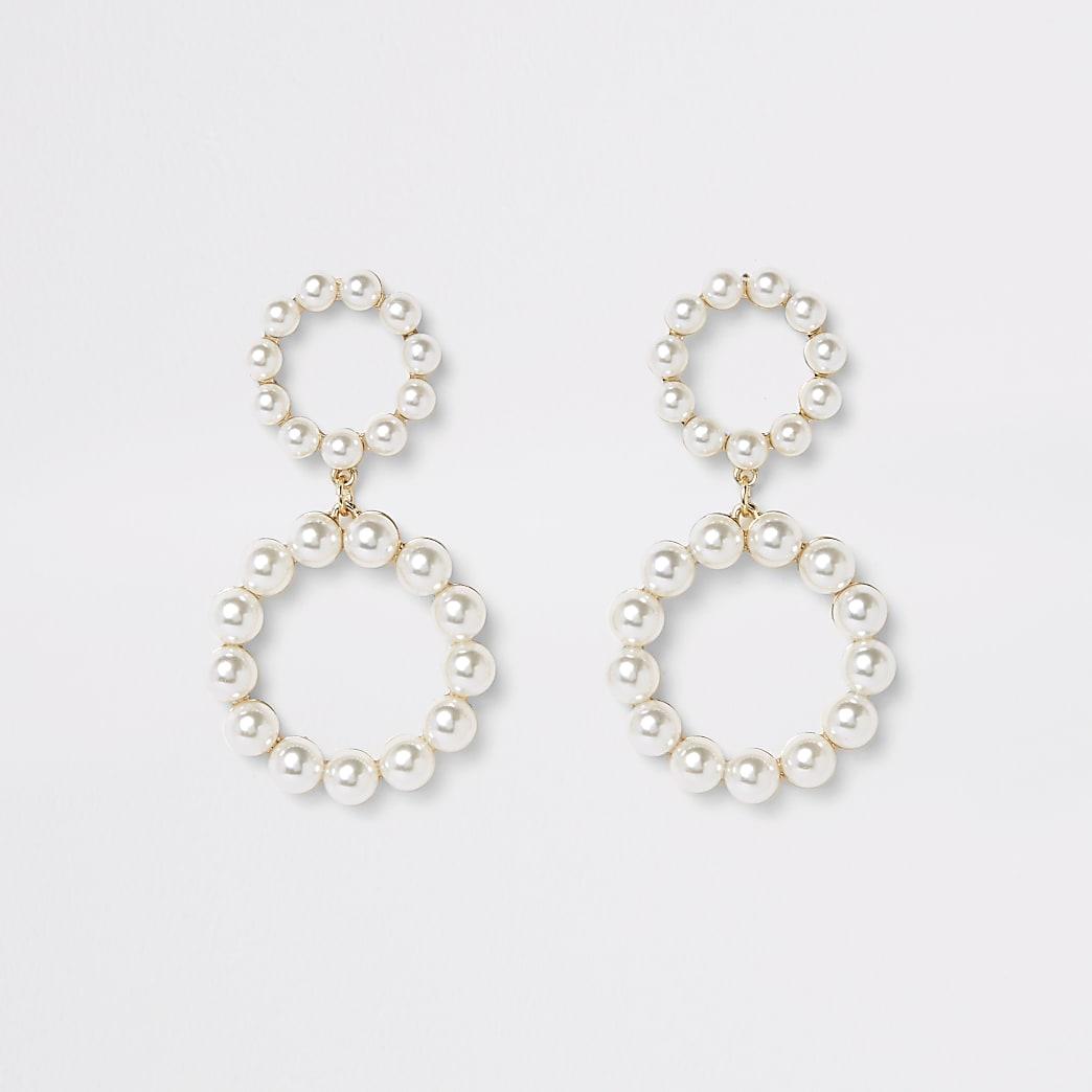 Pendants d'oreilles dorés à deux anneaux et perles