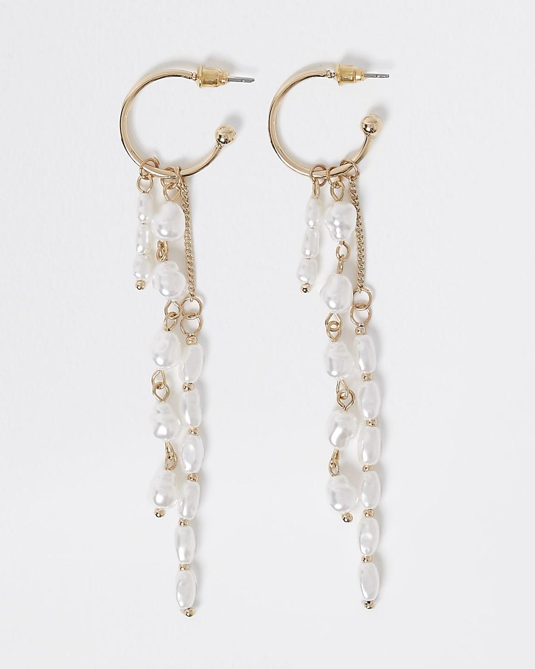 Gold colour pearl drop hoop earrings