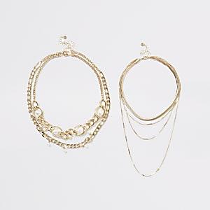 Mehrreihige Halskette in Gold mit Perlen