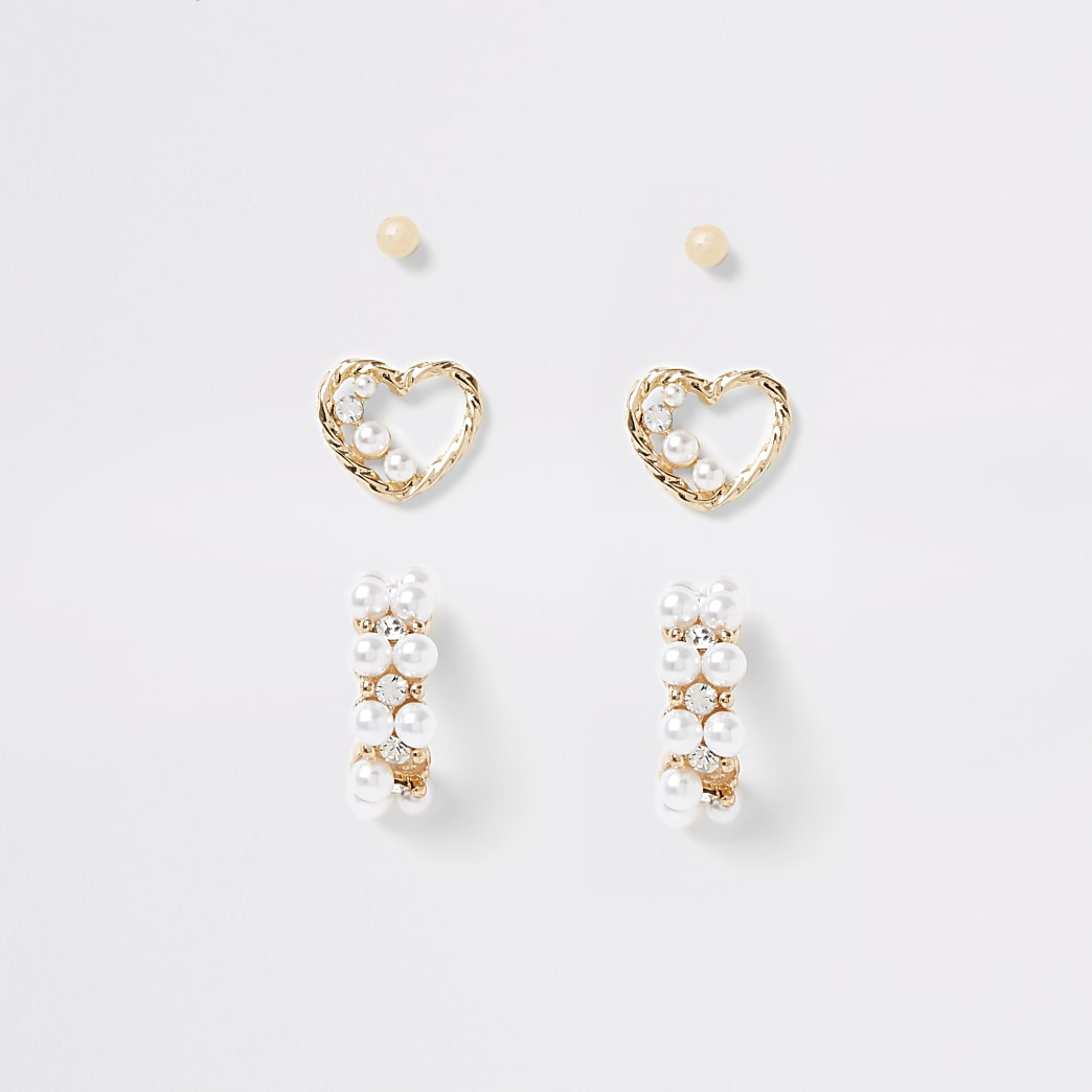 Gold colour pearl embellished earrings 3 pack