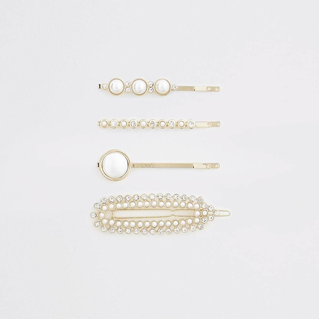 Haarspangen mit Perlen, Set