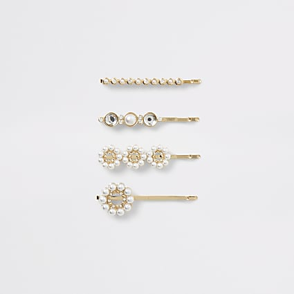 Gold colour pearl hair slides 4 pack