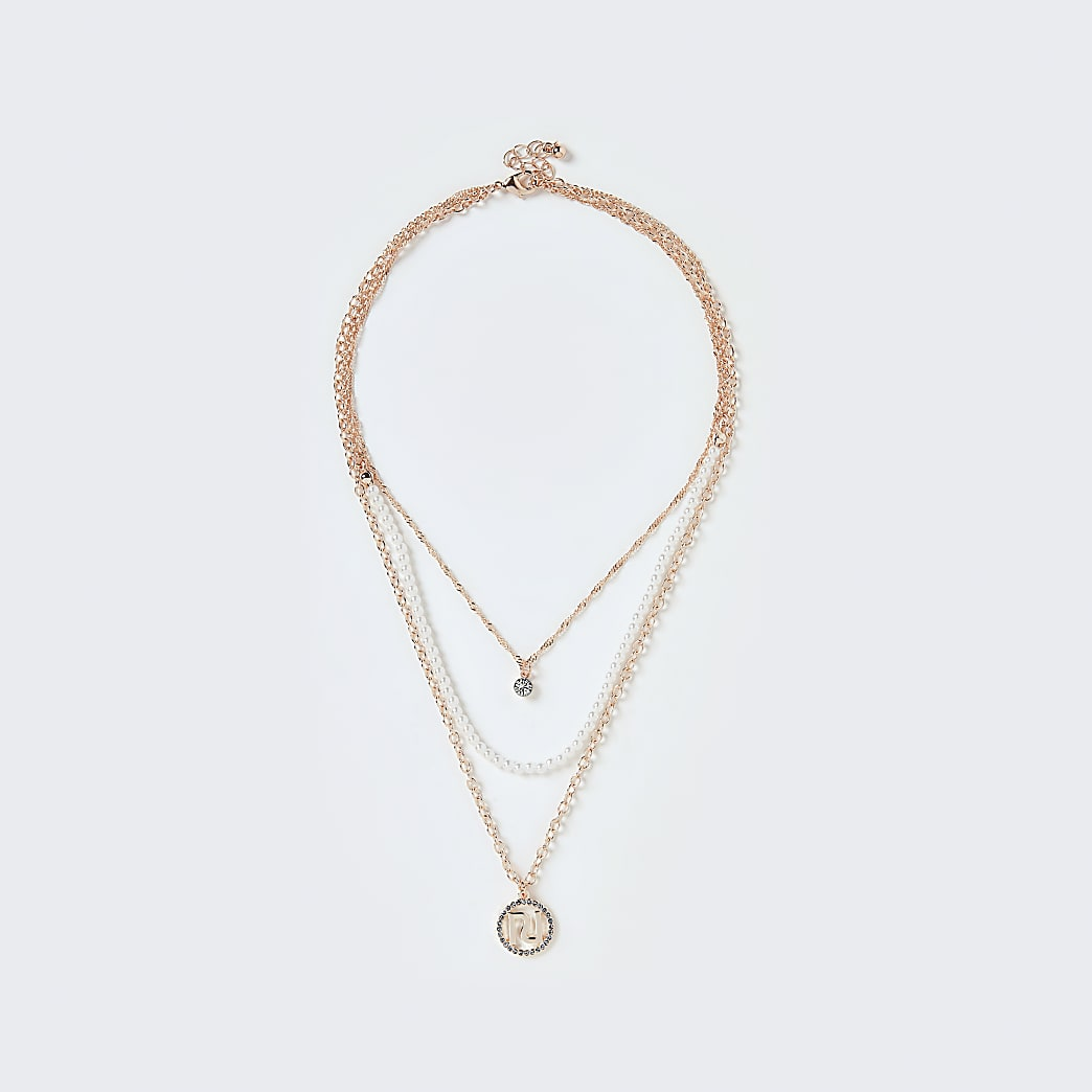 Gold colour pearl layered chain necklace