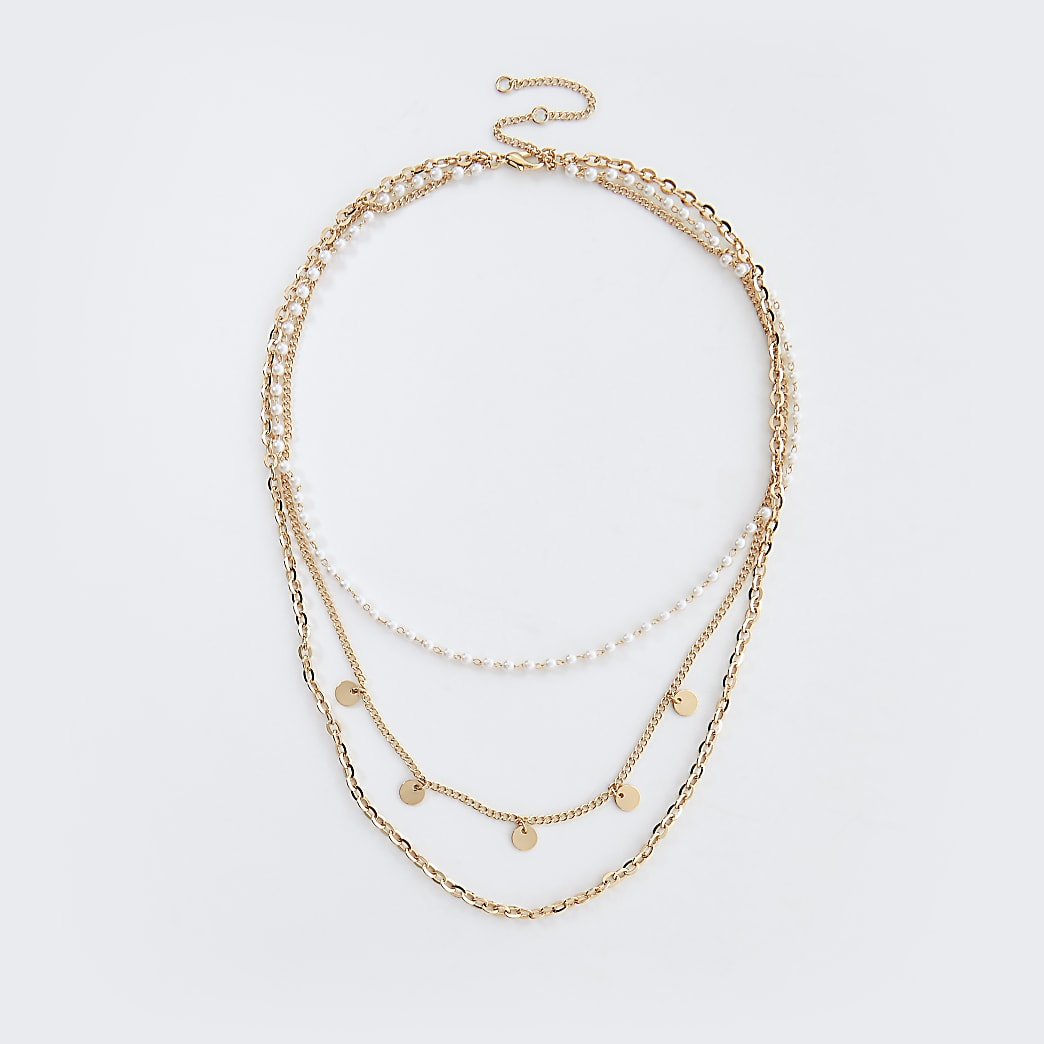 Gold colour pearl layered choker neckalce