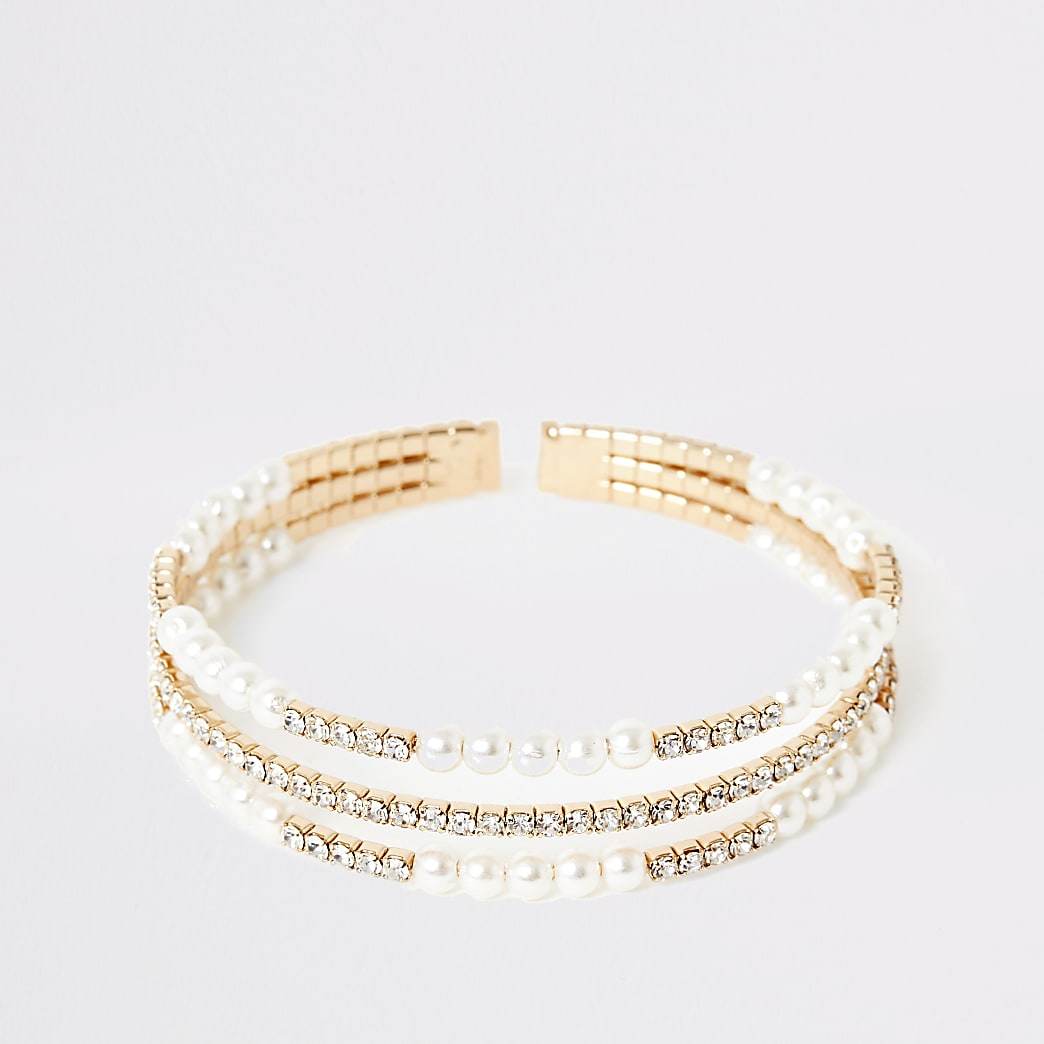 Gold colour pearl layered cuff bracelet