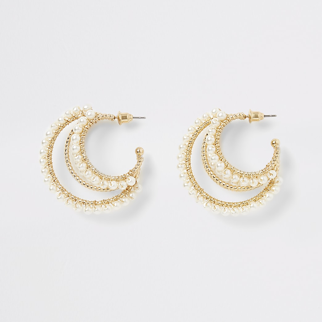Gold colour pearl layered hoop earrings
