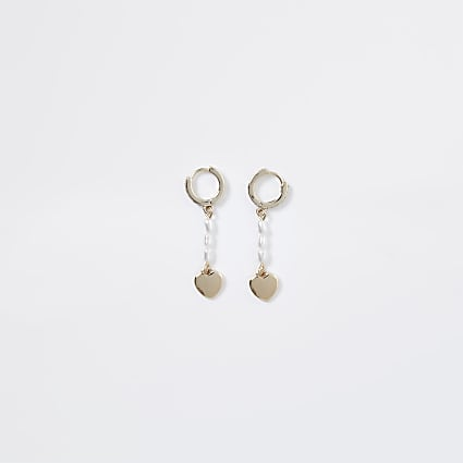 Gold colour pearl mini heart hoop earrings